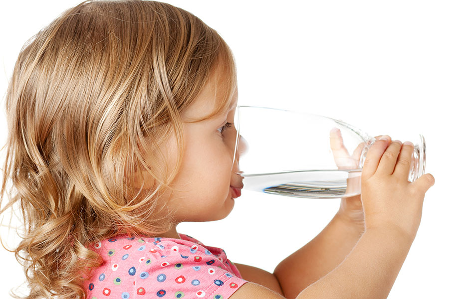 Girl drinking water not juice