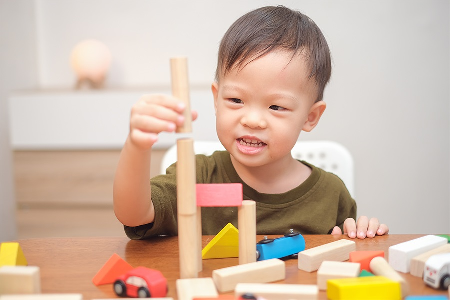 24-month-old playing